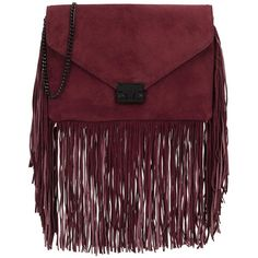 Loeffler Randall Lock burgundy fringed suede clutch ( 450) ❤ liked on Polyvore  featuring bags 54b04123087cb