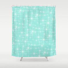 Glitter Tiffany Blue Shower Curtain