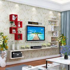 Tv Wall Design, Wall Shelves Design, Wood Shelves, Display Shelves, Storage Shelves, Shelves Under Tv, Floating Shelf Under Tv, Decorating Bathroom Shelves, Shelves In Bedroom