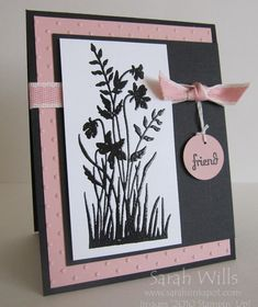 Pink and Black Floral Silhouette by willsygirl - Cards and Paper Crafts at Splitcoaststampers