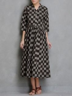 Brown Block Printed Cotton Dress