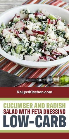 This Cucumber and Radish Salad with Feta Dressing is easy but delicious and cucumber and radish fans will want to make this all summer long! [found on KalynsKitchen.com] #KalynsKitchen #CucumberRadishFetaSalad #LowCarbCucumberSalad #CucumberSalad Radish Salad, Feta Salad, Cucumber Salad, Cucumber Recipes, Salad Recipes, My Favorite Food, Favorite Recipes, Salad Dressing Recipes, Potato Salad