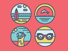 Beach Scene Icons by Maureen Horan