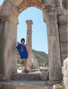 In an arch next to the Odeion in Ephesus 2nd Century AD... I'm so jealous of Trina Turk in this picture!