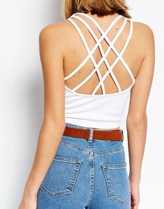 Image 3 of Daisy Street Strappy Back Jersey Crop Top
