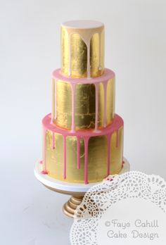 gold leaf and ombre pinks drizzle cake by Faye Cahill Cake Design
