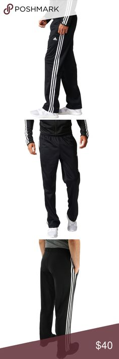 adidas Men's 3 Stripes Tricot Track Training Pants Workout in warmth or relax in comfort in these adidas sweatpants, with a soft brushed lining and an adjustable waist.  Three stripes at the sides add a classic look. Elastic waist with drawstring Welt pockets at front Brushed tricot lining Three-stripe motif at sides; logo at left front Fabric: 100% Polyester Color: Black/White Style: BK7402  New with Tag adidas Pants