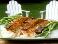 Grilled Salmon Steaks with Chipotle-Ponzu Sauce and Grilled Green Beans from FoodNetwork.com