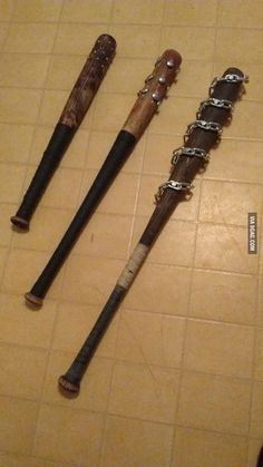 """Customized baseball bats for the """"zombie survival"""" enthusiasts out there. Survival Shelter, Survival Tools, Survival Knife, Zombie Survival Gear, Homestead Survival, Zombies Survival, Survival Quotes, Tactical Survival, Survival Prepping"""