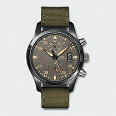 Pilot's Watch Chronograph Top Gun Miramar (ceramic/titanium, green textile strap, anthracite, 35)