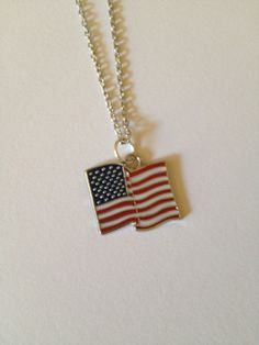 red white and blue American flag necklace on by TalulahBelleBeauty, $7.00