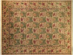 William Morris Pak-Persian Tulip Gold/Red Hand-Knotted Rug (10'1 x 14'1)