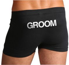 Fun gift for Spayder to wear on the wedding day! Groom Boxers / Underwear / trunks / briefs by Trunkoflove on Etsy, $19.90.....yum