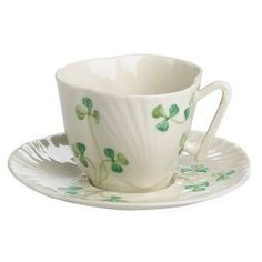 Belleek Harp Shamrock Teacup and Saucer- I love the unusual shape and delicate shamrocks on these cups.