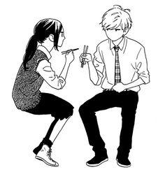 Hirunaka no Ryuusei Anime Love, Anime Guys, Mamura Daiki, Anime Monochrome, Daytime Shooting Star, Tsubaki Chou Lonely Planet, Manga Poses, Hirunaka No Ryuusei, Manga Couple