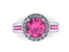 Diamond Halo Pink Sapphire Engagement Ring by JewelryArtworkByVick, $1335.00