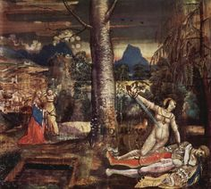 Niklaus Manuel Deutsch.  Pyrasmus und Thisbe. Um 1520, Tempera auf Leinwand, 151,5 × 161cm.Basel, Kunstmuseum.Schweiz.Spätgotik.  KO 00243