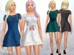 The Sims Resource: Jasmine Lace Crochet Dress by EsyraM • Sims 4 Downloads