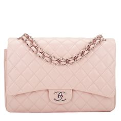 Chanel Light Pink Quilted Caviar Maxi Classic Flap Bag |... (379.720 RUB) ❤ liked on Polyvore