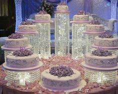 Set of 9 Acrylic or Glass Chain Crystal Chandelier Cake Stand By Forbes Favors Asian Style With Battery LED Lights Wedding Cake, Anniversary or Special Occasion ( Diameters 6 Wedding Cake Stands, Wedding Cupcakes, Beautiful Wedding Cakes, Beautiful Cakes, Chandelier Cake Stand, Acrylic Cake Stands, Crystal Cake Stand, Quince Cakes, Quinceanera Cakes