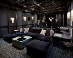 Pictures of home movie theater rooms.
