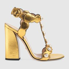 Gucci Willow Gold leather t-strap sandal