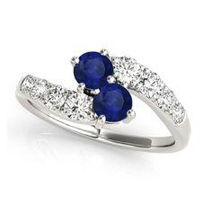 Blue Sapphire & Diamond Contoured Two Stone Ring 18k White Gold (2.00ct), Women's, Size: 9.25