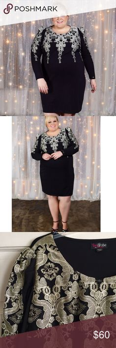 Embellished Bodycon Dress LOVEDROBE for SIMPLY BE /  US PLUS SIZE 28 Bodycon Embellished Dress - Black bodycon dress with ivory/gold metallic mesh embellishment overlay on bodice and sleeves - Long-sleeves - Wide crew neckline with slight puff shoulders - 95% Polyester, 5% Elastane {lots of stretch} ✅ New- worn once for photos  ✅ NO trades / NO low-balling ✅ List price is fair and highly discounted✌️ Simply Be Dresses Long Sleeve