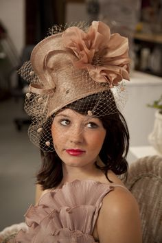 ROYAL BOX Nude hat with spotty veiling #millinery #milliner #jessikahill  www.jessikahill.com