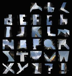 """Berlin-based photographer and illustrator Lisa Reinermann captured the entire alphabet in the negative space between buildings in Barcelona. """"I loved the idea of the sky as words, the negative being the positive. If I could find a 'Q', other letters should be somewhere around the corner."""""""