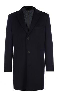 Пальто из смеси шерсти и кашемира с подстежкой HUGO BOSS Tailored, синего цвета, арт. 50323940 в ЦУМ | Фото №1