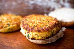 New York Times recipe for White Bean Burgers  (the black bean burgers are wonderful too)