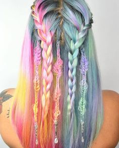 40 amazing ideas for Mermaid Hair - Colourful Hair - Hair Color Ombre Hair, Pink Hair, Violet Hair, Hair Color Pink, Yellow Hair, Trendy Hairstyles, Braided Hairstyles, Mermaid Hairstyles, Everyday Hairstyles