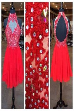 AHP366 A-line Halter High Neck Lace Appliqued Bodice Red Short Prom Dresses 2017