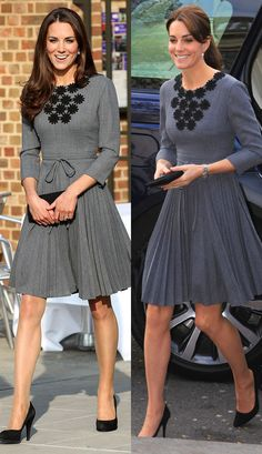 Orla Kiely Grey Pleated Dress from the Duchess of Cambridge's Recycled Looks  At a charity event this week, the Duchess restyled this charming grey Orla Kiely dress she previously wore back in 2012.