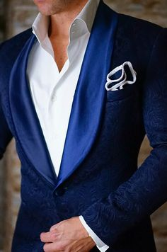 S by Sebastian Dinner Jacket Navy Blue Paisley | Sebastian Cruz Couture