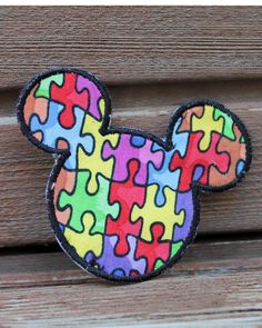 Disney Mickey Mouse Autism Awareness Puzzle by saltcitystitches, $5.00