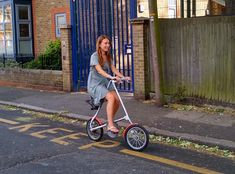 Ariane Sanders on #Strida folding bike (designed by her Dad). Folding Bicycle, Baby Buggy, Bike Design, Inventions, Engineering, Products, Baby Carriage, Pram Sets, Electrical Engineering