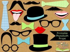 Photobooth Props PRINTABLE - Moustache, Lips, Glasses, Ties, Bow ties & Hats - INSTANT DOWNLOAD