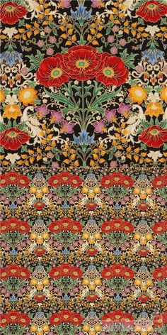 "black cotton fabric with red poppies, other flowers in orange, purple, with leaves etc., with metallic gold embellishment, Material: 100% cotton, Fabric Width: 112cm (44"") #Cotton #Flower #Leaf #Plants #Metallic #USAFabrics"