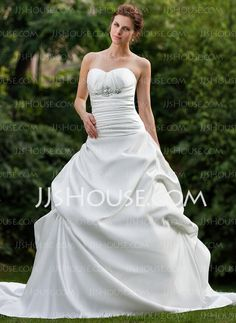 Wedding Dresses - $235.99 - Ball-Gown Sweetheart Chapel Train Satin Wedding Dress With Ruffle Beadwork Flower(s) (002000657) http://jjshouse.com/Ball-Gown-Sweetheart-Chapel-Train-Satin-Wedding-Dress-With-Ruffle-Beadwork-Flower-S-002000657-g657