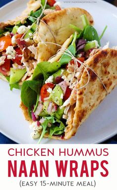 Need a healthy & easy meal you can prep for the week ahead? Or a quick 15 minute meal for lunch or dinner? Fix these yummy Chicken Hummus Naan Wraps! They're filled with shredded rotisserie chicken, lettuce, hummus, sliced veggies, crumbled cheese Chicken Wrap Recipes Easy, Quick Easy Meals, Healthy Dinner Recipes, Real Food Recipes, Quick Healthy Lunch, Simple Healthy Meals, Easy Recipes, Healthy Wraps, Easy Summer Meals