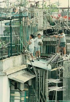 """Bill ✔️ """"Please Mister, we lost our football in the TV Aerials! Hong Kong Night, British Hong Kong, Tv Aerials, China Hong Kong, Now And Then Movie, Thing 1, The Old Days, Slums, Urban Photography"""