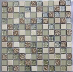 Gorgeous tiles for splashback behind vanity unit and sink Mosaic Tile Designs, Mosaic Tiles, Wall And Floor Tiles, Wall Tiles, Topps Tiles, Kitchen Upgrades, Splashback, Vanity Units, Decorative Tile