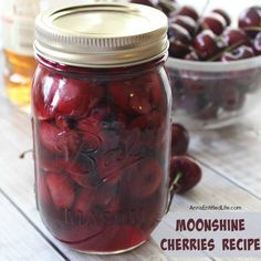 MOONSHINE CHERRIES I would love this as a gift!! Moonshine cherries, also called cherry bombs and spiked cherries are a great adult snack, or wonderful for dressing up a cocktail or dessert. Thi…