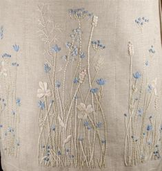Fleur bleue embroidery...ivory and light blue floss. Close to a monochromatic…