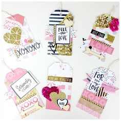 Handmade Gift Tags Using Cratepaper Hello Love Collection Diy Crafts For Girls, Handmade Gift Tags, Candy Cards, Scrapbook Embellishments, Happy Mail, Scrapbook Paper Crafts, Card Tags, Project Life, Craft Gifts