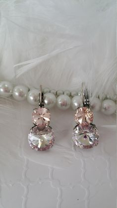 PALE PINK  - Swarovski Crystal earrings - vintage pink and crystal - 8.5mm and 12mm setting - antique silver - very neutral - lovely! by GemmaMoonDesigns on Etsy https://www.etsy.com/listing/268115585/pale-pink-swarovski-crystal-earrings