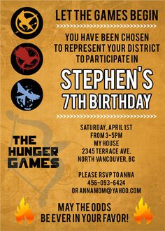 The Hunger Games Movie Inspired- Custom Birthday Invitation  by DesignDreamEtsy, via Flickr