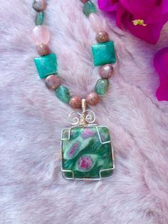 RUBY FUCHSITE Necklace with Rhodonite by WhimsicalMystical on Etsy, $65.00